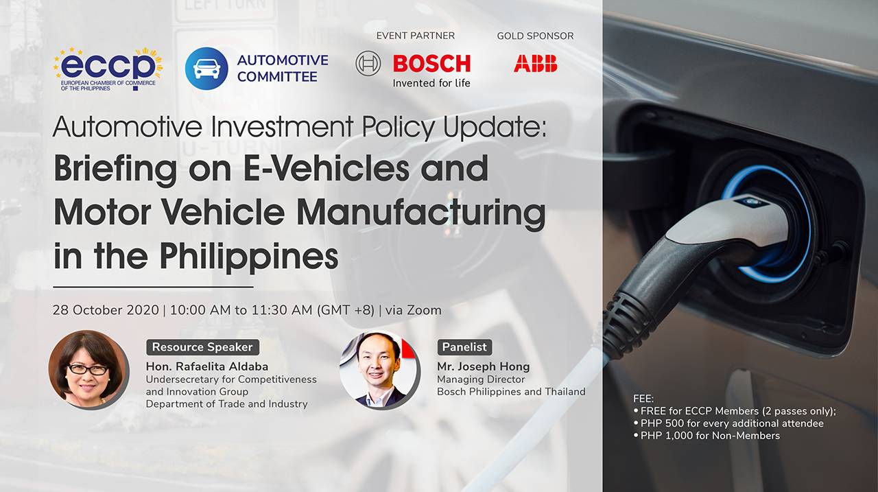 Automotive Investment Policy Update: Briefing on E-Vehicles and Motor Vehicle Manufacturing in the Philippines