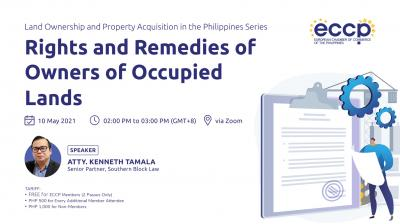 Land Ownership & Property Acquisition in the Philippines Webinar Series: Rights and Remedies of Owners of Occupied Lands